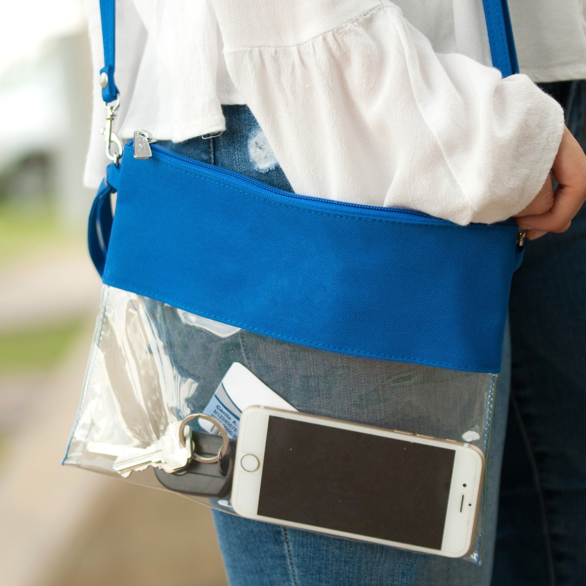 MONOBLANKS Clear Zip Pouch with Detachable Crossbody Adjustable Strap and Wristlet (Blue)