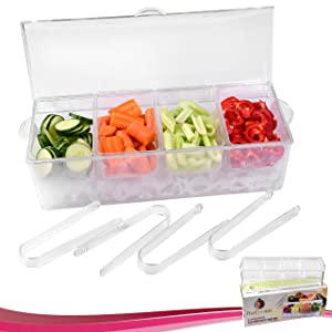 Chilled Condiment Server with 4 Compartments + 4 FREE Tongs I Removable Condiment Containers on Ice Tray Bundle
