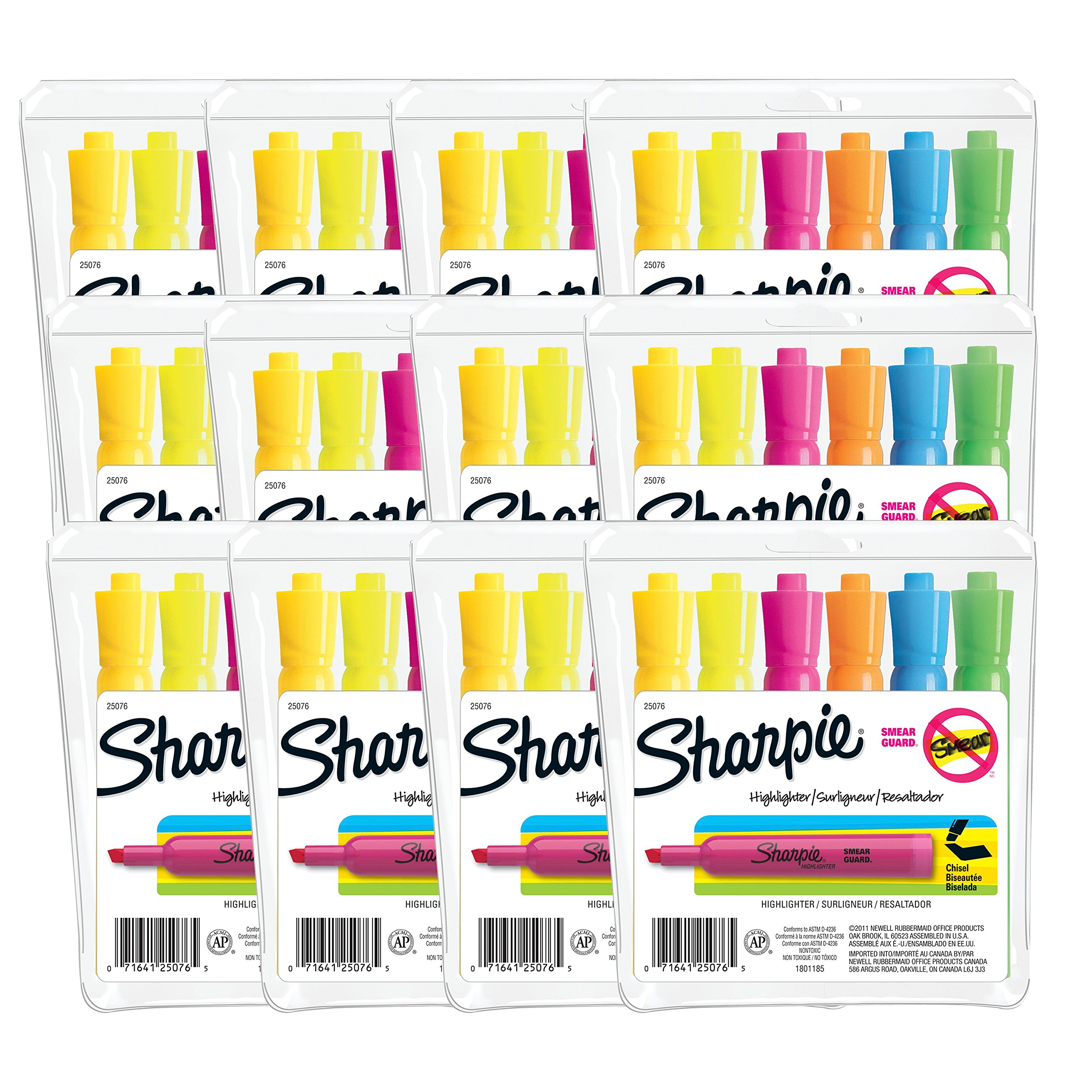 Sharpie Tank Style Highlighters, Chisel Tip, Assorted Colors, 12 Packs of 6 (72 Count) by Sharpie (Image #1)