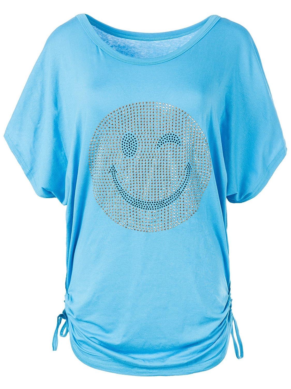 N115 Damen Batwing Shirt T-Shirt Longshirt Smiley Kurzarm Tunika Bluse Smily Grö ß en:Einheitsgrö ß e Farben:Beige