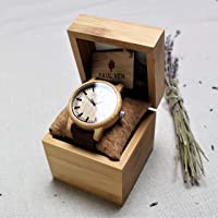 Engraved Wood Watch Paul Ven Liberty Original, with leather strap and wooden watch box