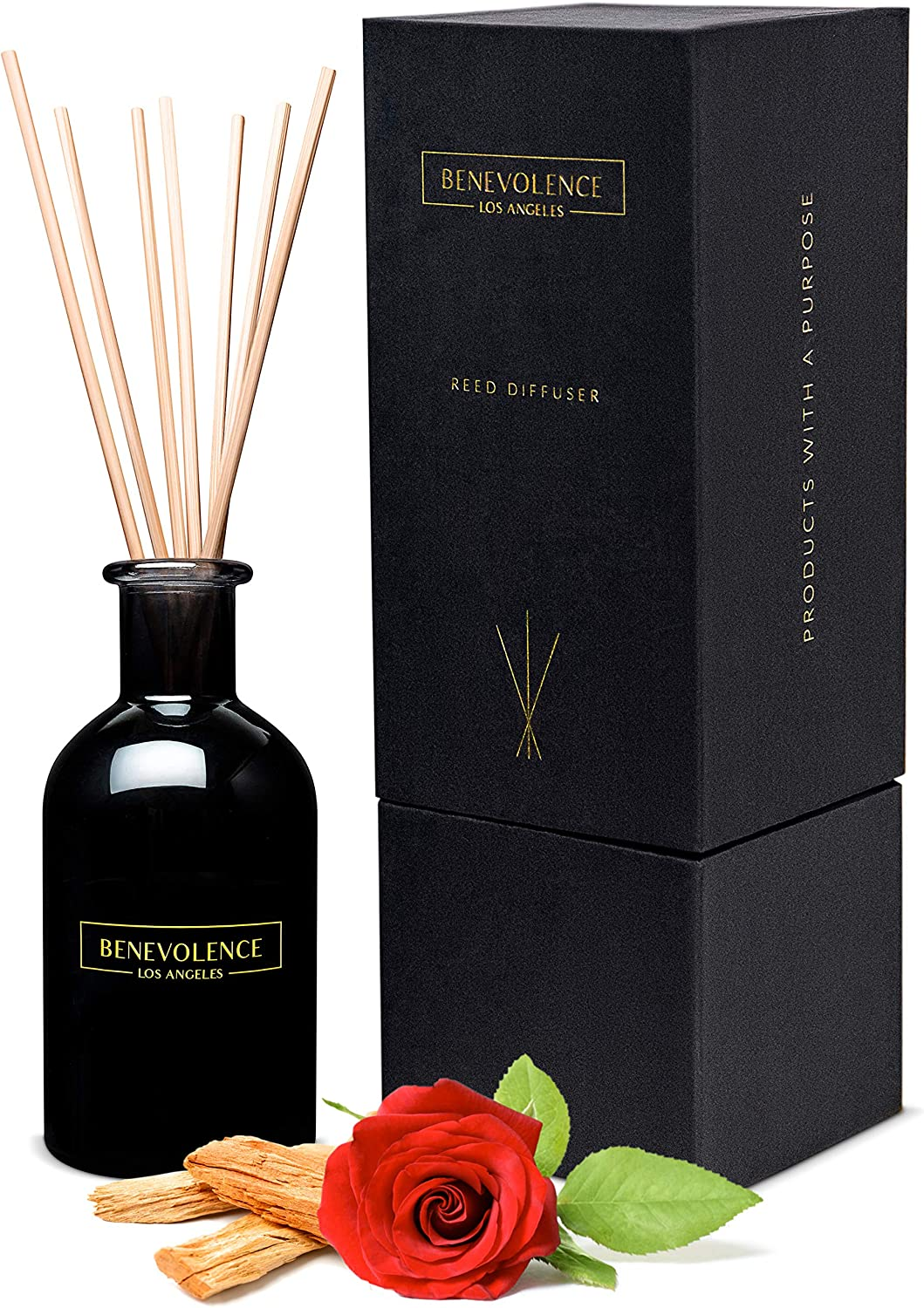 Benevolence LA Reed Diffusers for Home | Rose & Sandalwood Fragrance Diffuser | Aromatherapy Scented Oil Reed Diffuser Set | Sticks Diffuser