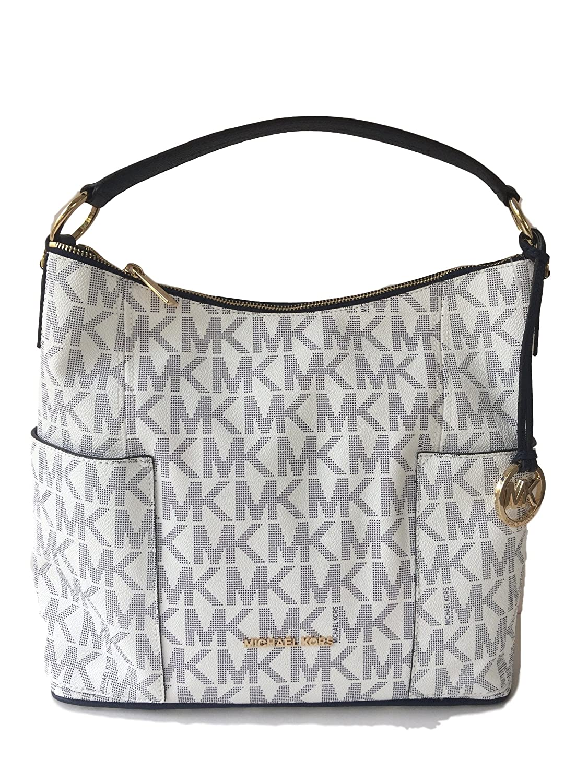 7bf6bdaee29a Amazon.com  Michael Kors Anita Large Convertible Shoulder Bag Navy White   Shoes