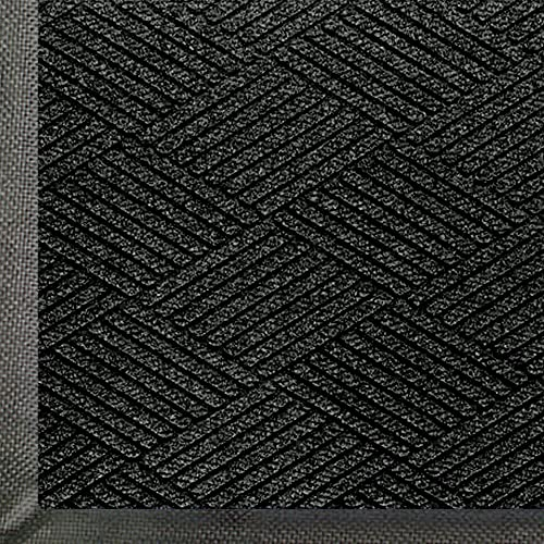 M A Matting 2295 WaterHog Eco Premier Polyester Fiber Entrance Indoor Outdoor Floor Mat, SBR Rubber Backing, 6 Length x 6 Width, 3 8 Thick, Black Smoke