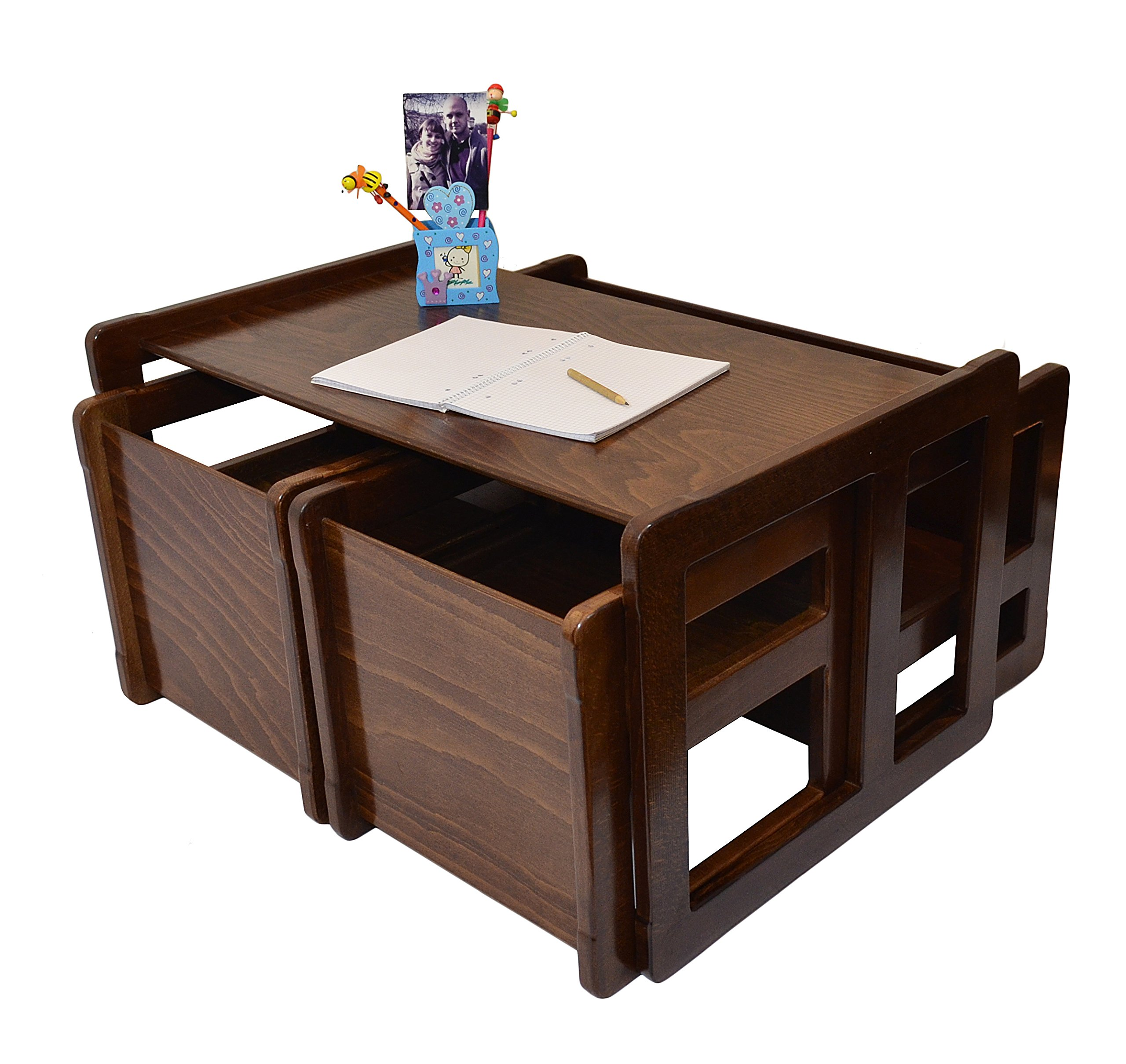 3 in 1 Childrens Multifunctional Furniture Set of 4, Two Small Chairs or Tables and One Small Bench or Table and One Large Bench or Table Beech Wood, Dark Stained by Obique Ltd (Image #2)