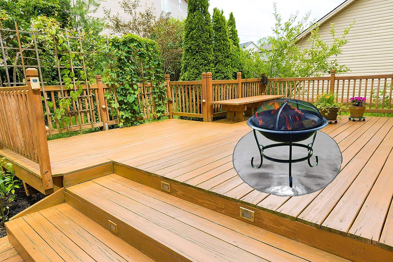 gril /à charbon foyer /à gaz Tapis de protection pour foyer /à bois fumoir /à barbecue terrasse ext/érieure et herbe /à forte chaleur rayonnante.