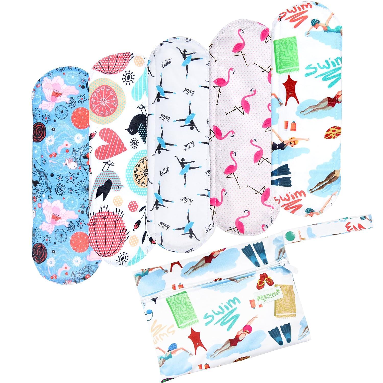 Wegreeco Bamboo Reusable Sanitary Pads (New Pattern) - Cloth Sanitary Pads | Bladder Support & Incontinence Pads | Reusable Menstrual Pads - 5 Pack Pads, 1 Cloth Mini Wet Bag Bonus (Large, Dynamic)