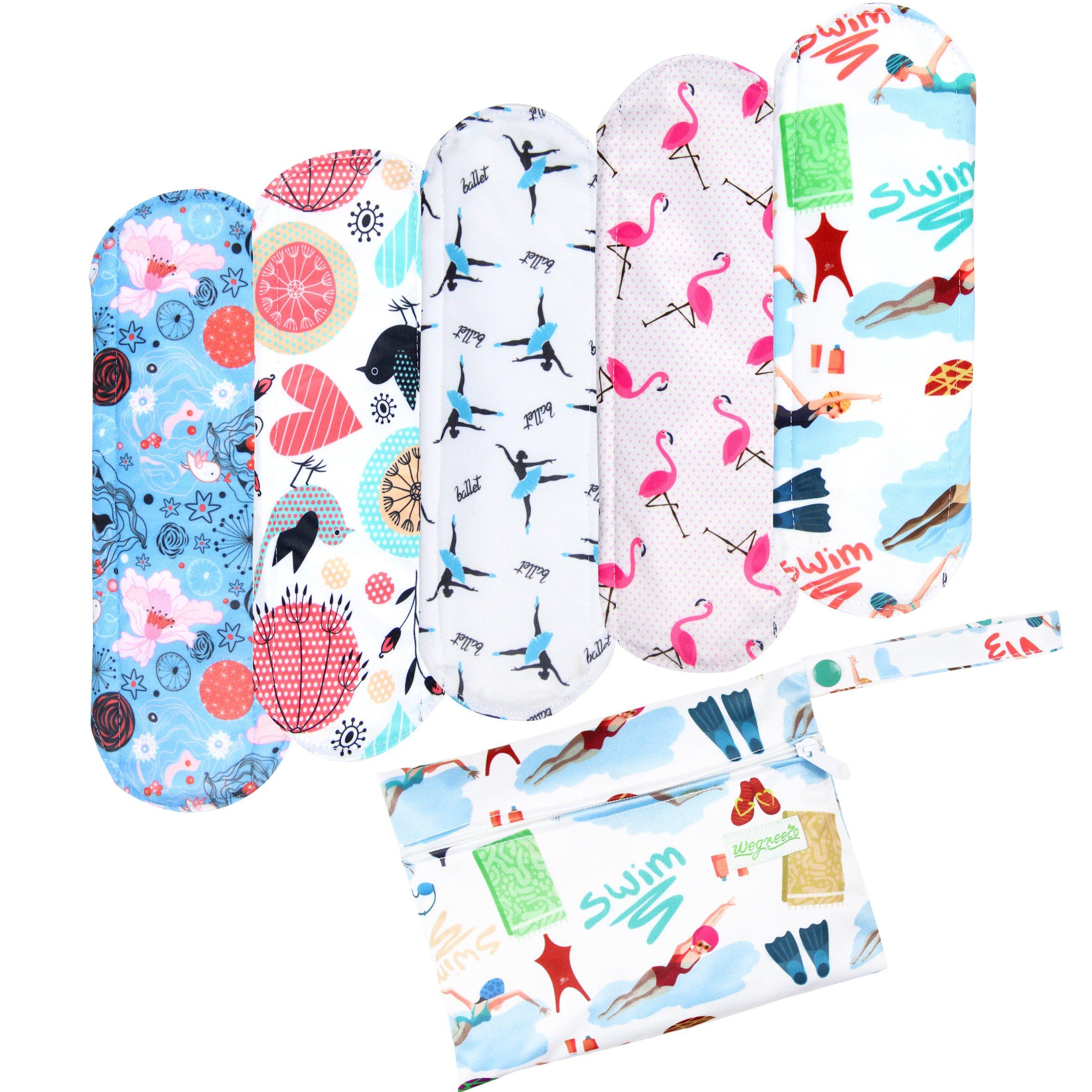 Wegreeco Bamboo Reusable Sanitary Pads (New Pattern)- Cloth Sanitary Pads, Cloth Pads, Reusable Menstrual Pads - 5 Pack Pads, 1 Cloth Mini Wet Bag Bonus ( Small, Dynamic )