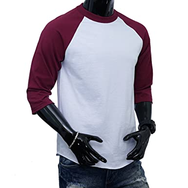 ae31c918 Image Unavailable. Image not available for. Color: Shaka Wear Casual Raglan  Men's 3/4 Sleeve Baseball T-Shirt ...