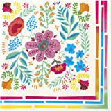 Talking Tables Pack of 20-Premium Floral Paper Napkins-Ideal Partyware Supplies For an Afternoon Tea Garden BBQ Birthday Party, Pink Blue Yellow