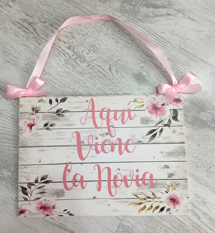 Cartel Aquí Viene la Novia para Bodas con flores de almendro ...