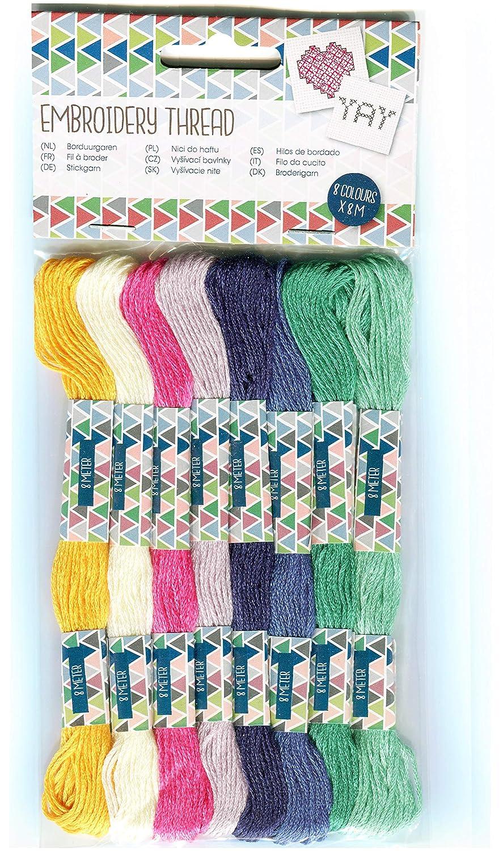 para Pulseras brasile/ñas Bordado Punto de Cruz 8 Colores Surtidos Hilo de Coser para Bordar G/én/érique Lote de 8 Telas