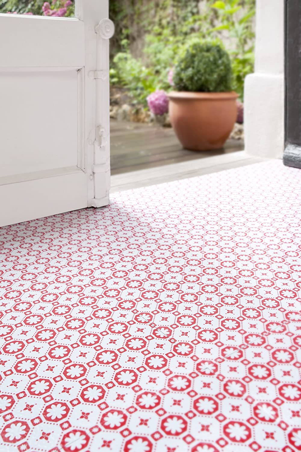 Kitchen Floors Uk Red Stars Vinyl Floor Tiles Vinyl Flooring Amazoncouk Kitchen