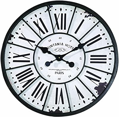 Creative Co-op DE1176 Turn of The Century Style Metal and Wood Wall Clock