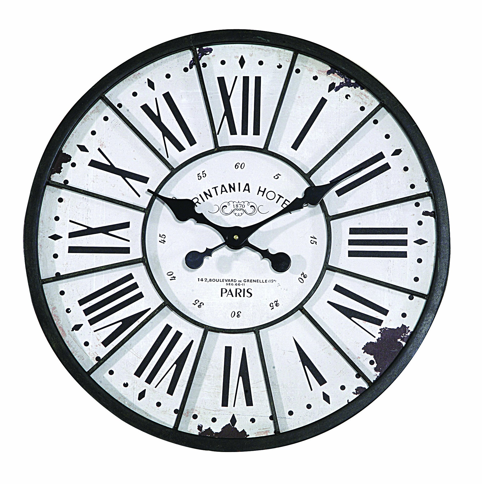 Creative Co-op Turn of The Century Style Metal and Wood Wall Clock - Crafted of metal and wood Requires 1 AA battery (not included) Large Roman numerals - wall-clocks, living-room-decor, living-room - 91rRaXYK rL -
