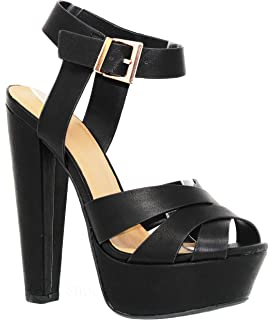 d62c1b04f62 MVE Shoes Women s Block Heel Platform Cut Out Slip On Sexy Heeled Sandal