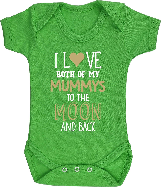 Hippowarehouse I Love Both My Mummys to The Moon and Back Baby Vest Bodysuit Boys Girls Short Sleeve
