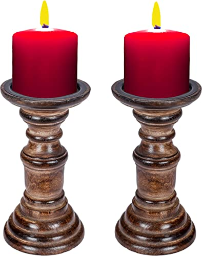 Light Pro Hand Crafted Wooden Pillar Candle Holder