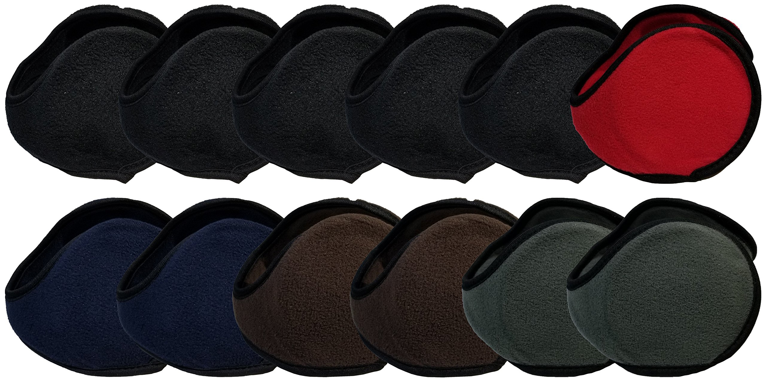 Winter Earmuffs, 12 Pack, Cozy Ear Warmers Colors Mens Womens Unisex Bulk Assorted Ear Muff (6 Pack - Assorted Solid)