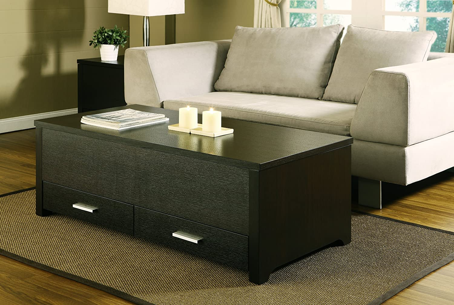 Amazon.com: HOMES: Inside + Out IoHOMES Achley Trunk Style Coffee Table,  Dark Espresso: Kitchen U0026 Dining