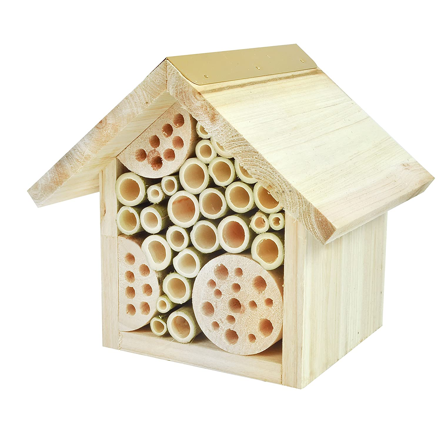 Gardirect Natural Wooden Bee Hotel Insect House
