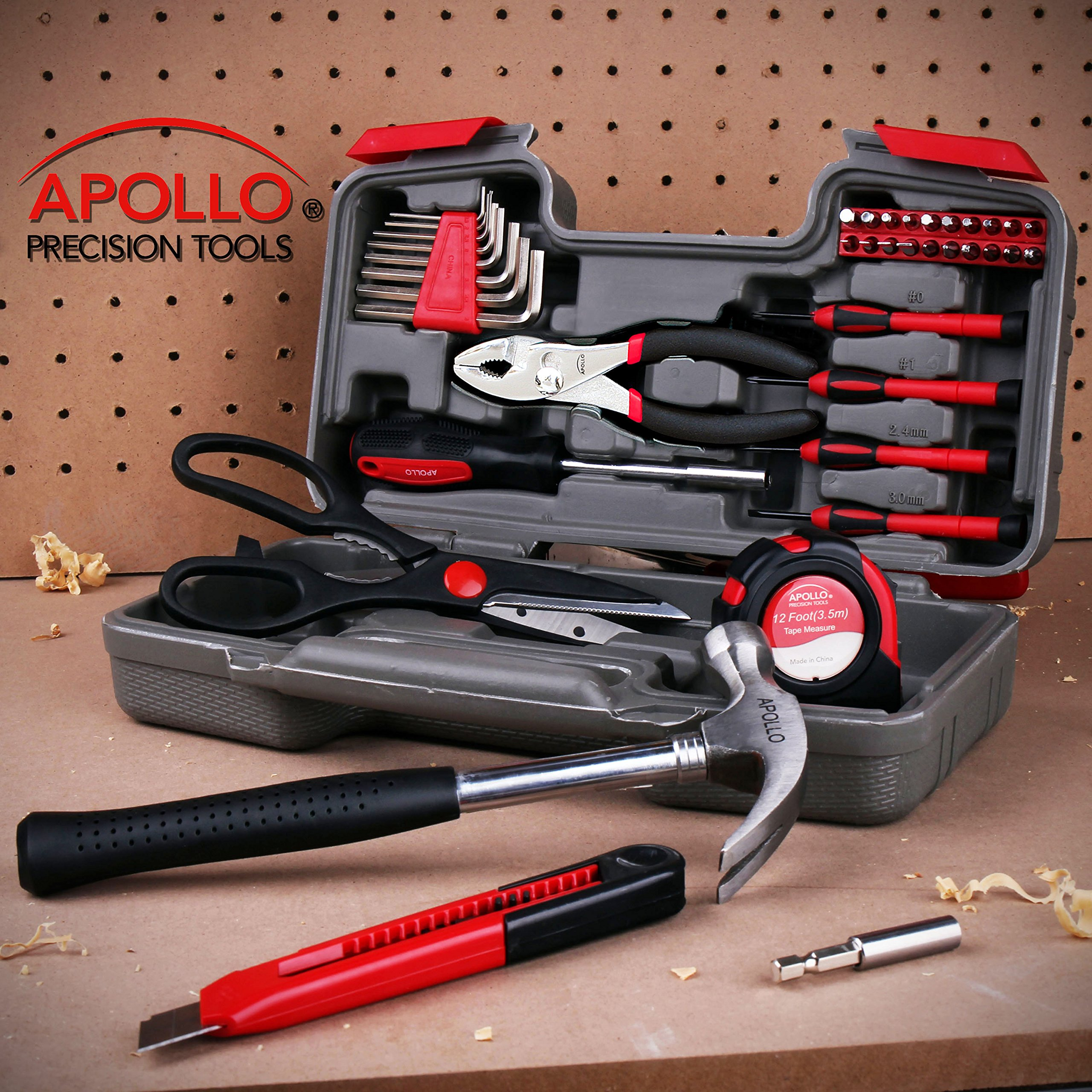 Apollo Tools DT9706 Original 39 Piece General Repair Hand Tool Set with Tool Box Storage Case by Apollo Tools