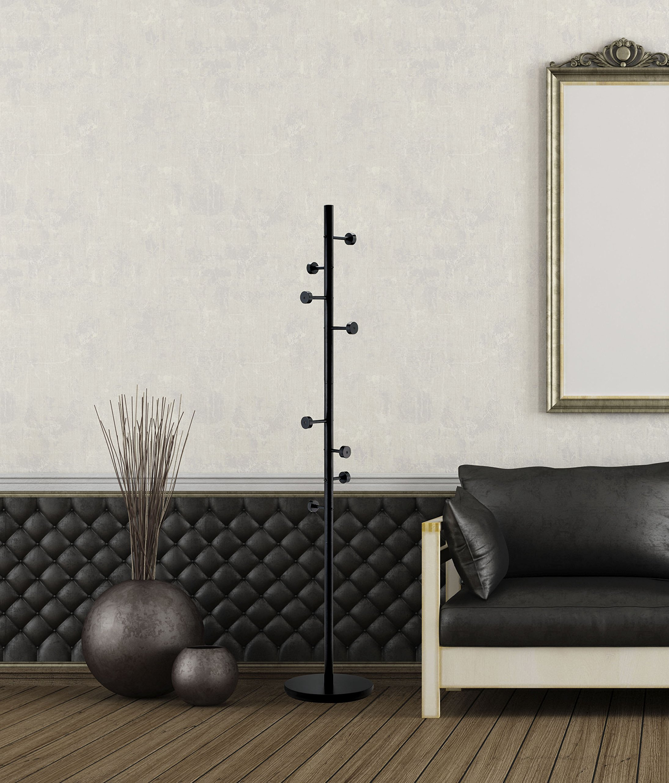 Adesso WK2030-22 Swizzle Coat Rack, Satin Steel Finish with Black Hooks by Adesso