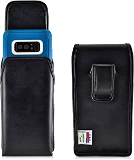 product image for Turtleback Holster Compatible with Samsung Galaxy Note 8 w/Otterbox Defender case Black Vertical Belt Case Leather Pouch with Executive Belt Clip Made in USA
