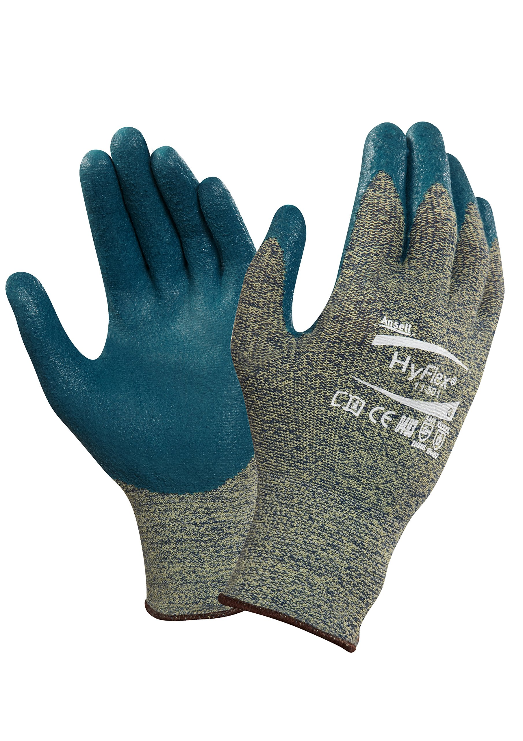Ansell 103368 HyFlex 11-501 Nitrile Foam Coated Stretch Lined Gloves, 0.33'' Height, 11'' Length, 5'' Wide, Size 10, Blue/Gray (Pack of 12) by Ansell (Image #1)