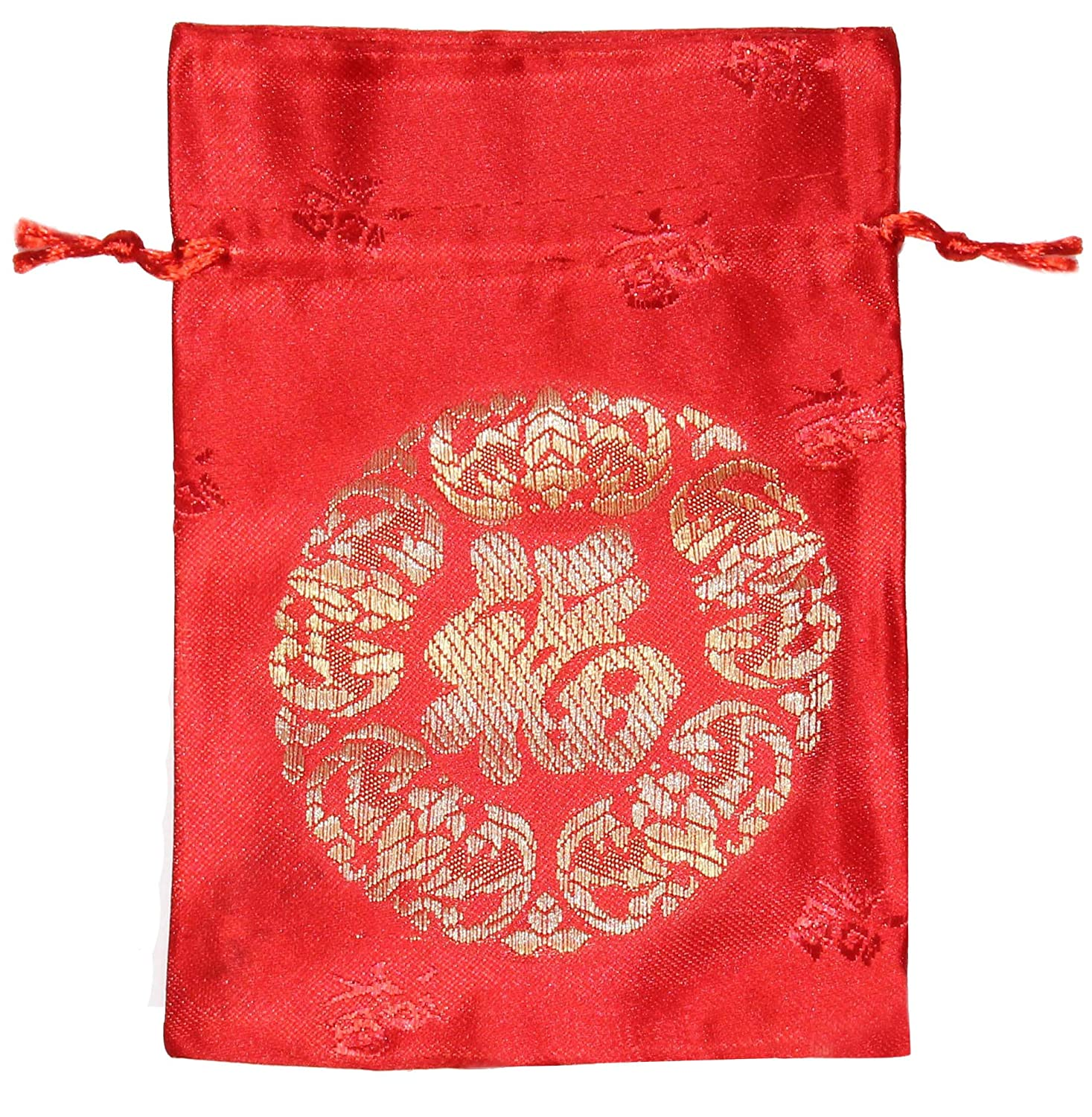 Amazon.com  Lucore Chinese Good Luck and Fortune Text Red Brocade Pouch -  10 PC Set of Lucky Silk Style Gift Bags  Home   Kitchen 12dc2a82b
