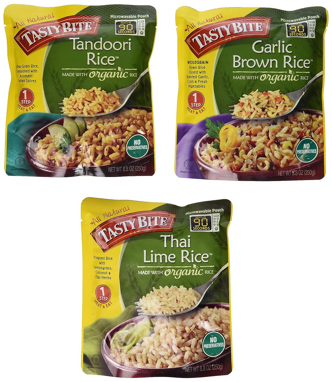 Tasty Bite Heat & Eat Organic Rice Side Dish 3 Flavor Variety Bundle: (1) Tasty Bite Tandoori Rice, (1) Tasty Bite Garlic Brown Rice, and (1) Tasty Bite Thai Lime Rice, 8.8 Oz. Ea. (3 Pouches Total)