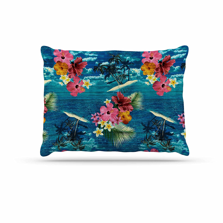 KESS InHouse Victoria Krupp Paradise Island Teal Floral Dog Bed, 30  x 40