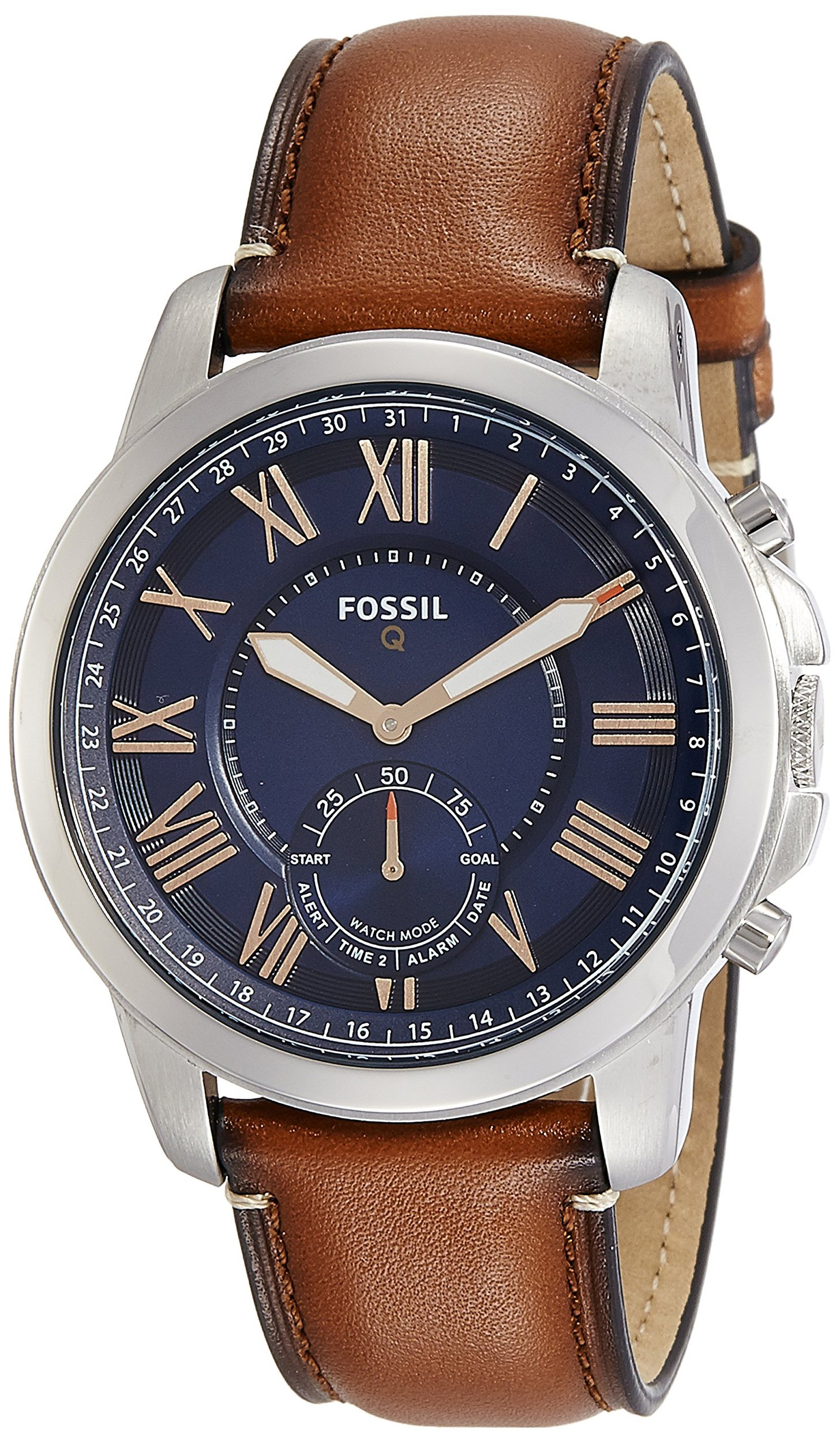 Fossil Q Men's Grant Stainless Steel and Leather Hybrid Smartwatch, Color: Silver-Tone, Brown (Model: FTW1122) by Fossil