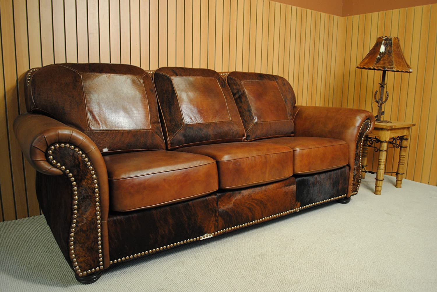 amazon com western leather and cowhide sofa kitchen dining rh amazon com cowhide leather sofa singapore full cowhide leather sofa