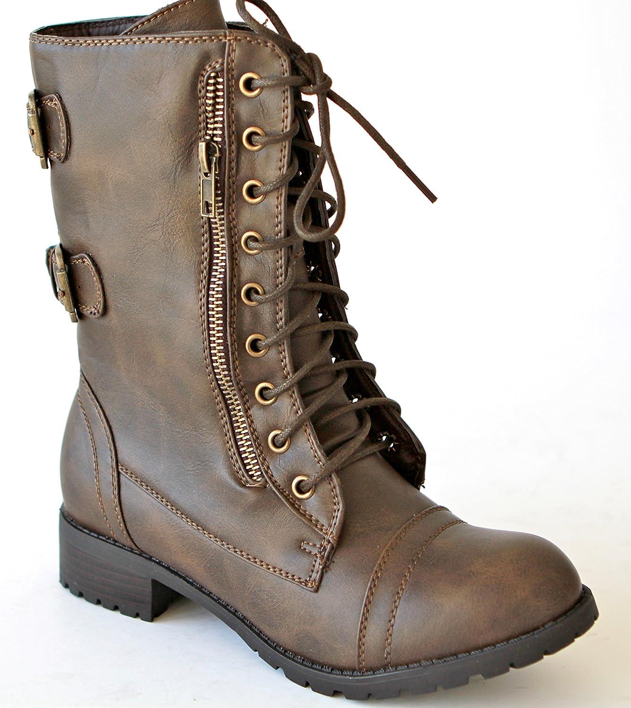 W-ALICE-03 Women Mid-Calf Boot- Khaki - Khaki Size 6.5