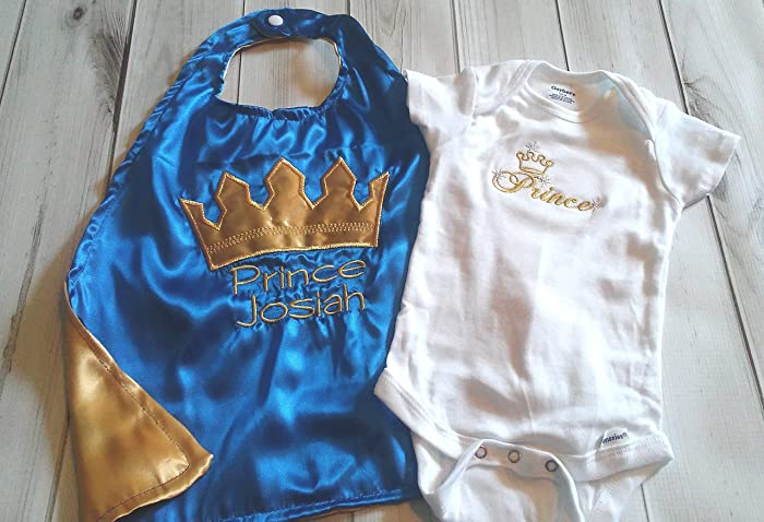 f7305532c Amazon.com: 2 piece Newborn Infant baby boy royalty set outfit photo prop  prince king royal blue gold crown onesie cape: Handmade