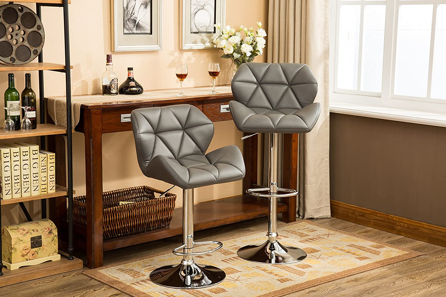 Roundhill Furniture Glasgow Contemporary Tufted Adjustable Height Hydraulic Grey Bar Stools, Set of 2,