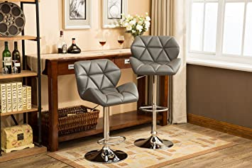 Fantastic Roundhill Furniture Glasgow Contemporary Tufted Adjustable Height Hydraulic Grey Bar Stools Set Of 2 Andrewgaddart Wooden Chair Designs For Living Room Andrewgaddartcom
