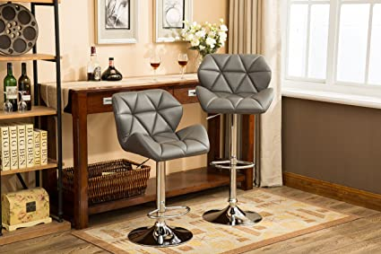 Roundhill Furniture PC190GY Glasgow Contemporary Tufted Adjustable Height  Hydraulic Bar Stools, Set Of 2,
