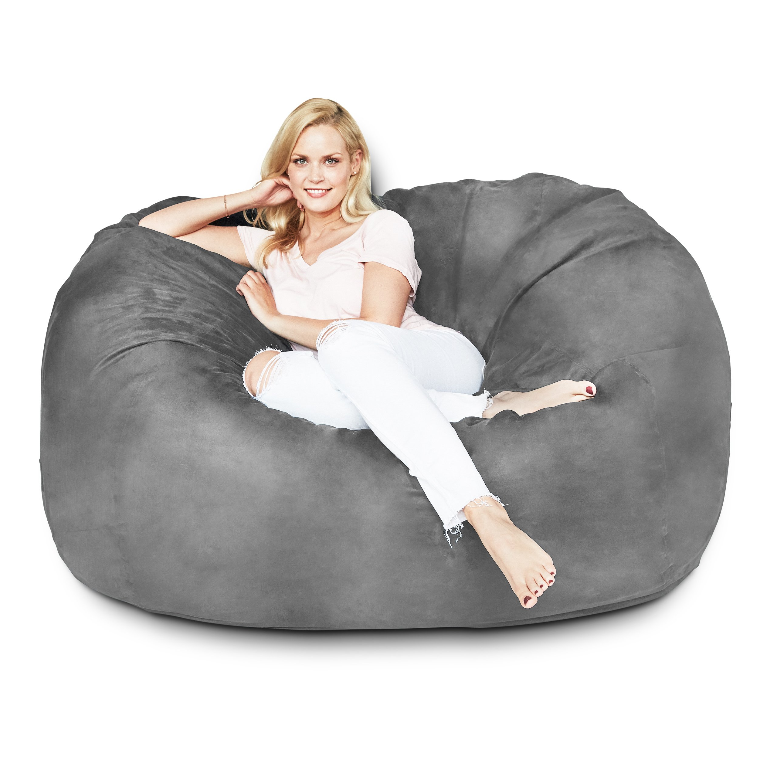 Lumaland Luxury 5-Foot Bean Bag Chair with Microsuede Cover Dark Grey, Machine Washable Big Size Sofa and Giant Lounger Furniture for Kids, Teens and Adults
