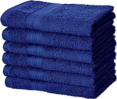 AmazonBasics Toalla de algodón de mano, resistente a la decoloración, paquete de 6, azul marino