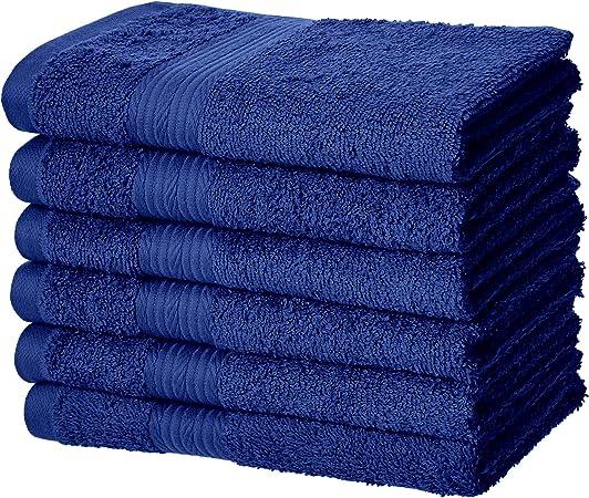 AmazonBasics Fade-Resistant 6-Piece Cotton Towel Set Navy Blue