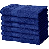 AmazonBasics Fade-Resistant Cotton Hand Towel - Pack of 6, Navy Blue