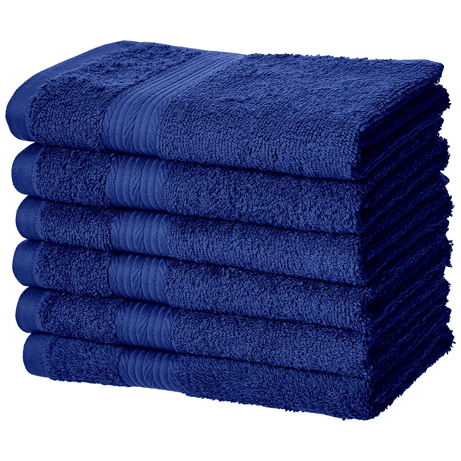 AmazonBasics Fade-Resistant Cotton Hand Towel - 6-Pack, Navy Blue