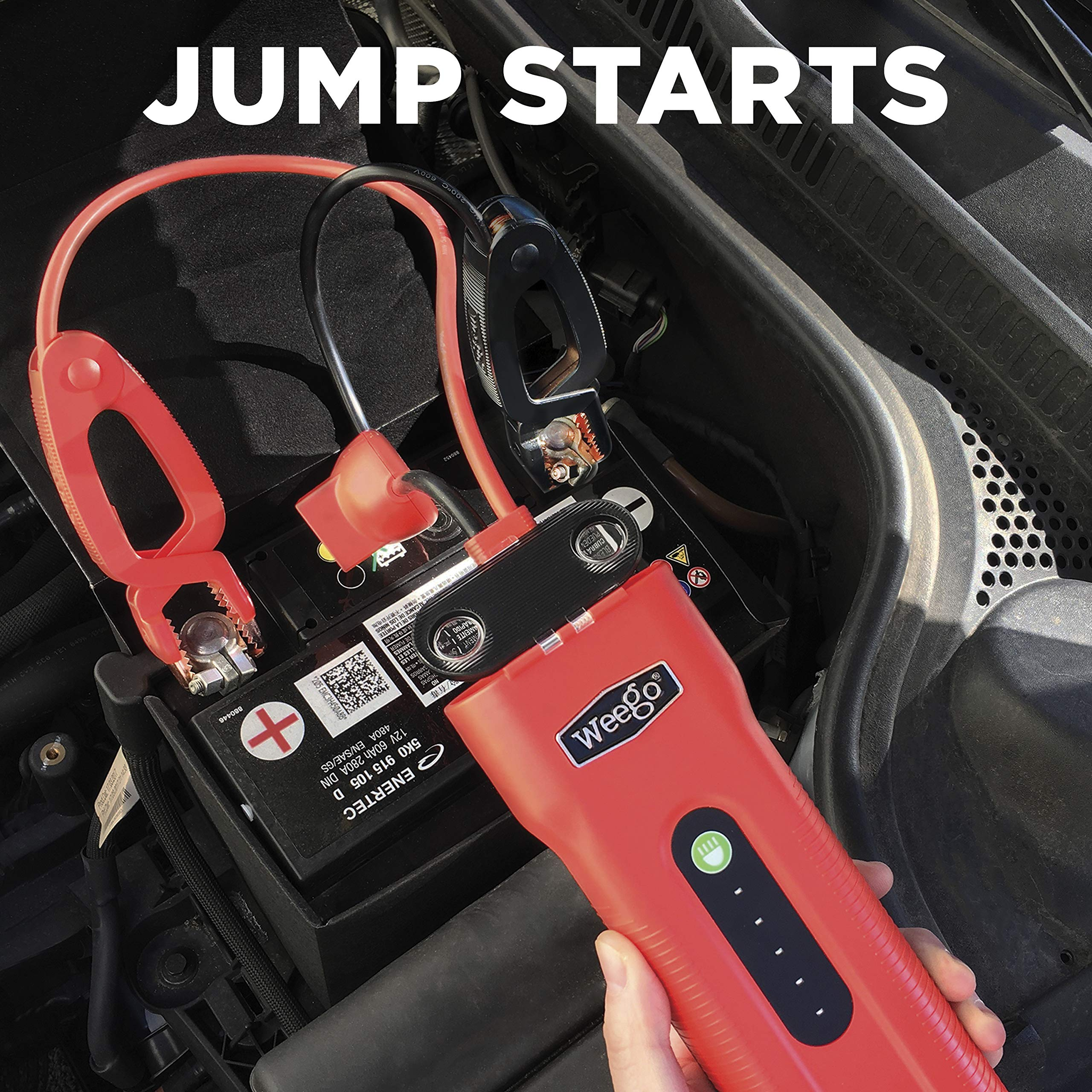 WEEGO 66.1 Jump Starting Power Pack (NEW 2019 Model) 2500 Peak 600 Cranking Amps High Performance Lithium Ion Jump Starter Quick Charges Phones 600 Lumen LED Flashlight Water Resistant by Weego (Image #2)