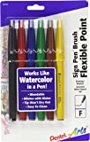 Pentel Arts Sign Pen Touch, Fude Brush Tip, Assorted Colors, Pack of 6 (SES15CBP6M)