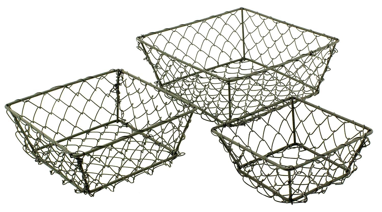 Amazon.com: Rustic Square Wire Fruit/ Vegetable Basket - Set of 3 ...