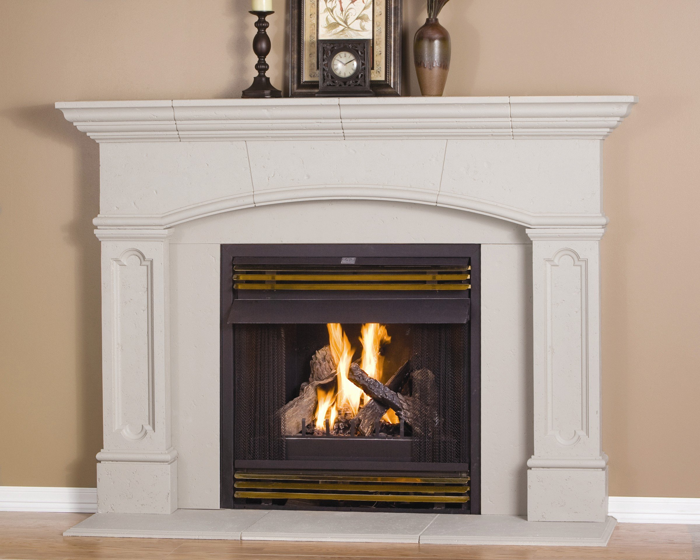 Abington Thin Cast Stone Adjustable Fireplace Mantel Kit - Complete Kit includes Hearth and Adjustable Interior Filler Panels by Cast Stone Mantel America