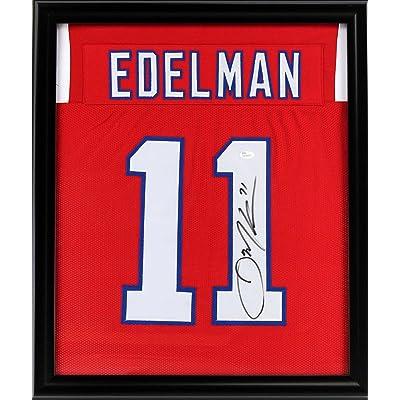 half off 6f5b7 3fc6a Signed Julian Edelman Jersey - Framed 27x23 Red Custom ...