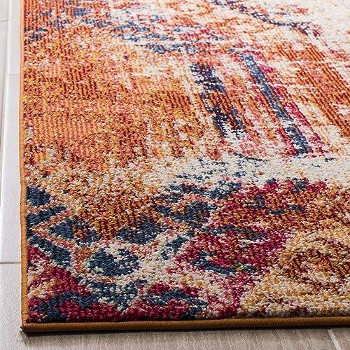 Safavieh Monaco Collection MNC222H Modern Bohemian Distressed Area Rug, 9 x 12 , Orange Multi